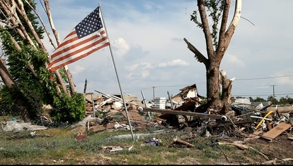 American flag in joplin after Tornado