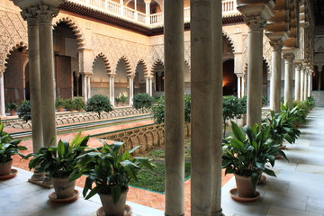 inner courtyard in Alcazar of Seville