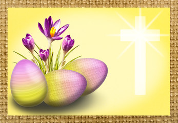 Easter background with crocus, egg and cross