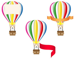hot air balloon and blank banner vector illustration