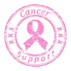 Vector of a grunge rubber stamp with pink ribbon