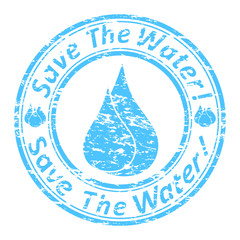 Vector of the blue grunge rubber stamp with the drops
