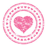 Vector illustrator of a grunge pink rubber stamp with heart  iso