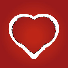 vector of a heart made of red ragged paper