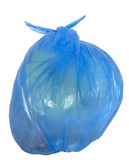 Disposable blue garbage bag