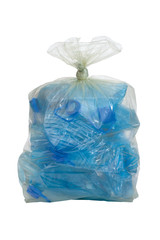 plastic bag with crushed blue plastic bottles cutout on white