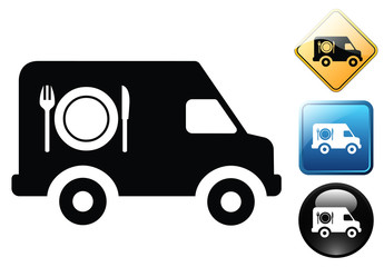 Catering van delivery pictogram and signs