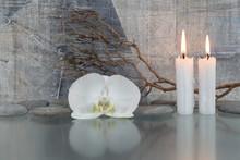 Orchidée blanche, des bougies, des branches