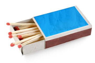 Blue matchbox isolated