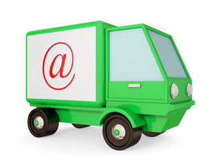 Green truck with red email symbol.
