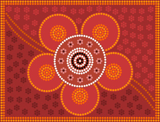 Aboriginal style of dot painting depicting: Flower