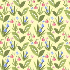 Spring flowers and butterflyes pattern