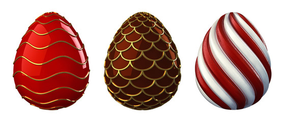 Decorative easter eggs , isolated on white