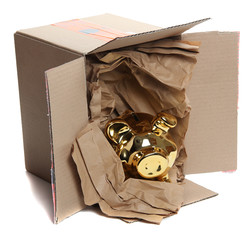 cardboard box with brown paper and golden piggybank