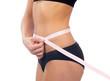 slim female measuring her waist metric tape measure