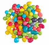 Multicolor bonbon sweets (ball candies) heap, isolated on white