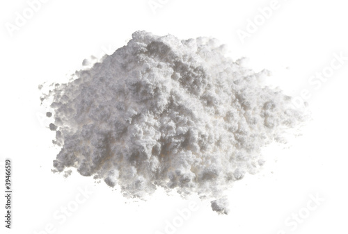 Leinwandbild Motiv Cocaine drugs heap isolated on white, close up view