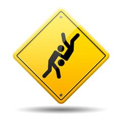 Señal amarilla simbolo judo