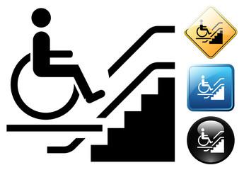 Handicap elevator pictogram and icons