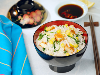 fried tofu with rice and corn