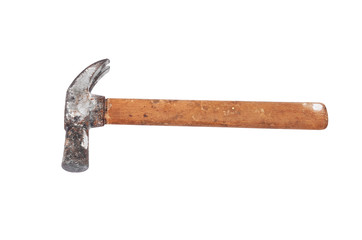 Old rusty hammer, isolated on white background