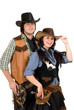 young cowboy and cowgirl. Isolated