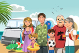 Fototapety Family on beach vacation