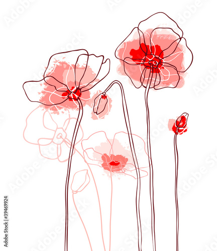Tuinposter Abstract bloemen Red poppies on white background. Vector illustration