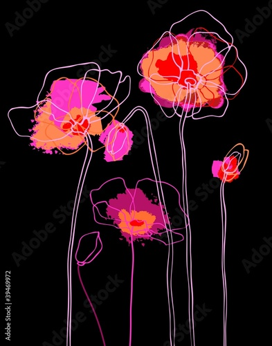 Tuinposter Abstract bloemen Pink poppies on black background. Vector illustration