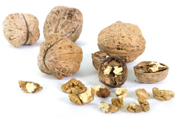 walnuts isolated on a white