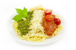 Italian flag - pasta with green pesto, white parmesan and red to
