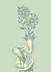 Elephant trumpet and flower. retro style. vector illustration.