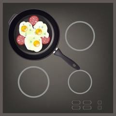 PAN Scrambled Eggs sausage(EPS 8) on BLACK HOB
