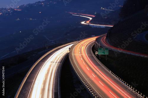 Leinwandbild Motiv Highway in the night, Lavaux, Switzerland