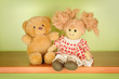 Rag doll and teddy bear