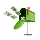 Opened green postbox and flying dollars packs. poster