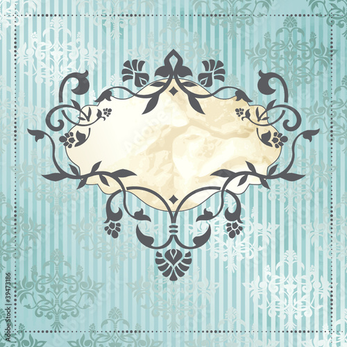 Elegant vintage rococo label in blue and silver