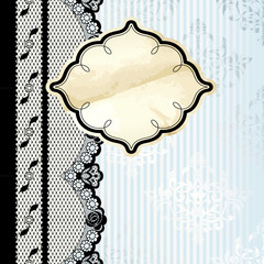 Silver and beige label with black lace