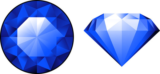 Sapphire from two perspectives over white