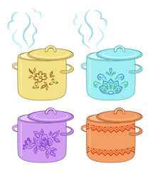 Boiling pan with pattern, set
