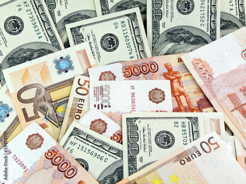 Dollars, roubles and euro