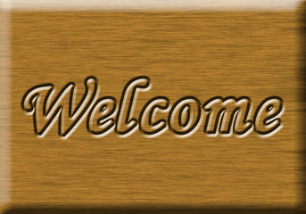 """welcome"" wooden sign"