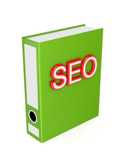 Green folder with red word SEO.