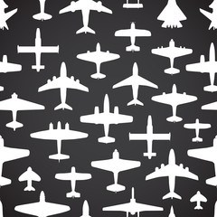 Transport and navy airplanes seamless background