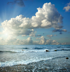 Summer landscape with sea and blue sky