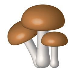 Vector illustration of three mushrooms