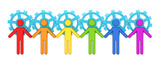 Colorful 3d small people merged with a blue gears. poster