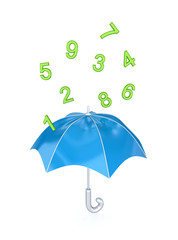 Blue umbrella under the rain of green numbers.