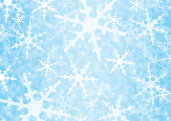 Festive blue background with snowflakes
