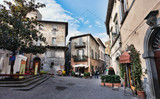 Orvieto, Umbria, Italy, narrow street with small shops - 39478193